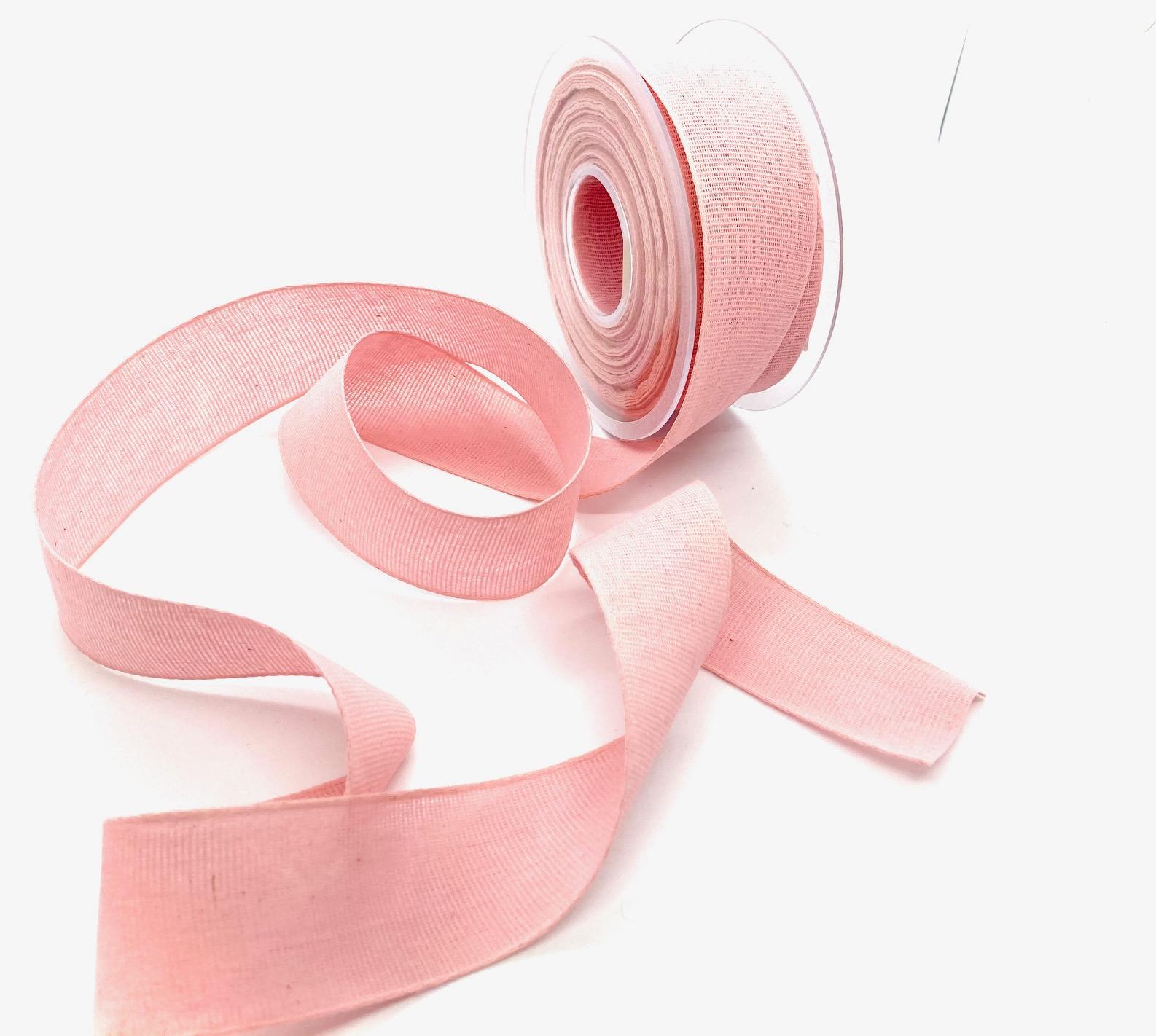 100% Baumwollband Rosa, 25 mm breit, 20 Meter
