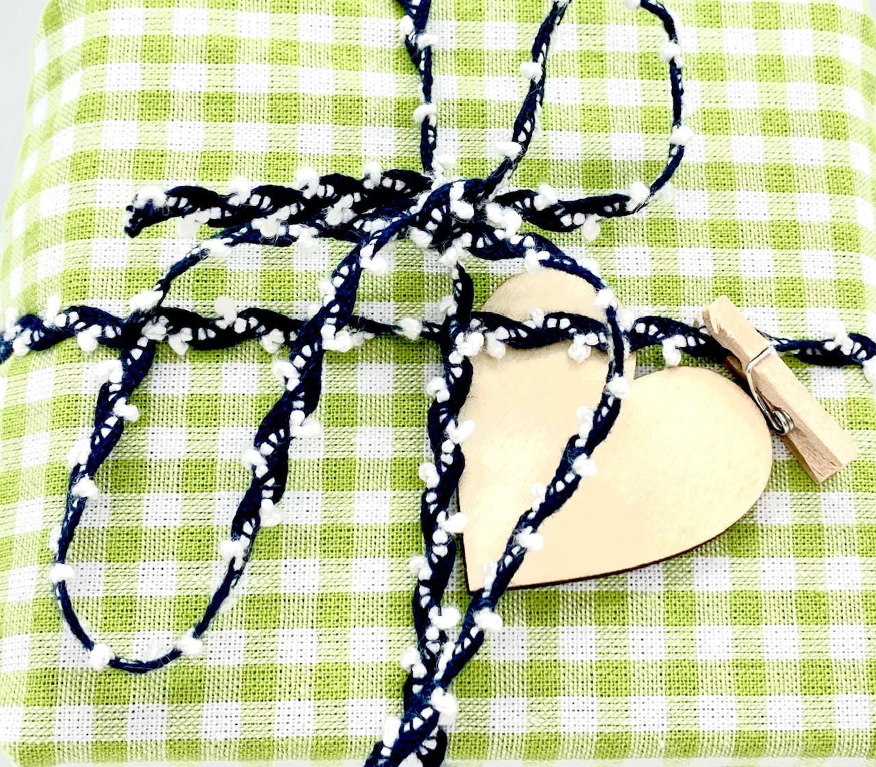 BIO-Baumwollband Dunkelblau/Weiß, 5 mm breit, 15 Meter lang